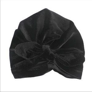 Other - Brand New Velvet Black Baby Girl Knot Turban Hat